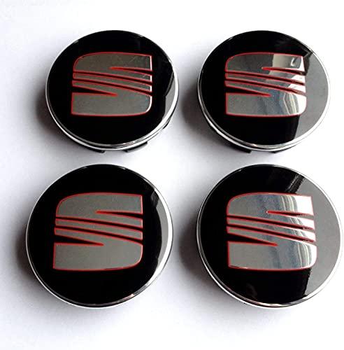 4 Pcs Tapacubos De Rueda Adecuado para Seat Ibiza Leon 63mm, Tapas Centrales para Llantas para Coches con El Logo Efecto 3D, Resistente Al Agua Y Al Polvo