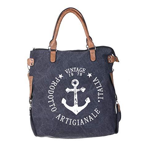 OXXAS Damentasche XL Handtasche Shopper Tragetasche Vintage mit Anker