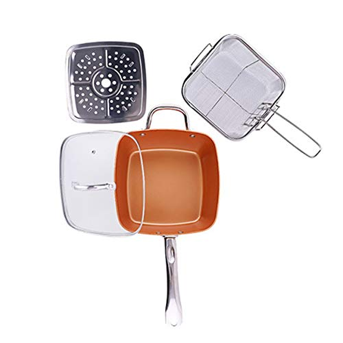 Hauggen1 Copper Pan Colour Aluminium Pot Four Pieces Non-Stick Household Fashion Professional Life Aid