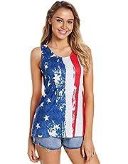 JIER Liquidación Camiseta sin Mangas con Bandera Americana para Mujer Camiseta sin Mangas con Estampado Divertido del Cuatro de Julio Camiseta sin Mangas