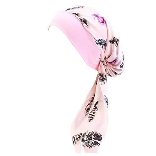 Vobony Mujer Sombrero Quimioterapia Turbante Cancer Pañuelo para la Cabeza de Seda Elástica Gorro Beanie Diadema Bandana para Noche Pèrdida de Pelo Cabello (Rosa)