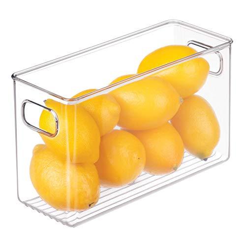 iDesign Cabinet/Kitchen Binz Aufbewahrungsbox, mittelgroßer Küchen Organizer aus Kunststoff, lange Box, durchsichtig, 25 cm x 10 cm x 15 cm