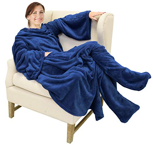 Catalonia Wearable Fleece Blanket with Sleeves and Foot...