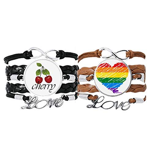 Bestchong Rainbow Gay Lesbian Heart LGBT Bracelet Hand Strap Leather Rope Cherry Love Wristband Double Set