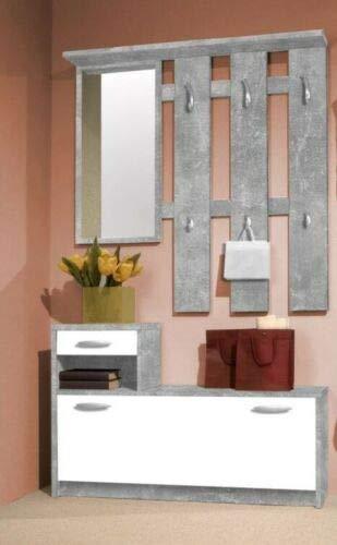 Garderobe Vera Beton Weiß Flur Diele 2-teilig Paneel Spiegel MDF 1 Schubkasten