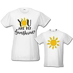 Idea Regalo - Babloo Coppia di T-Shirt Maglie Madre - Figlio/a Idea Regalo Festa della Mamma You Are My Sunshine Bianche M - Body 12 Mesi