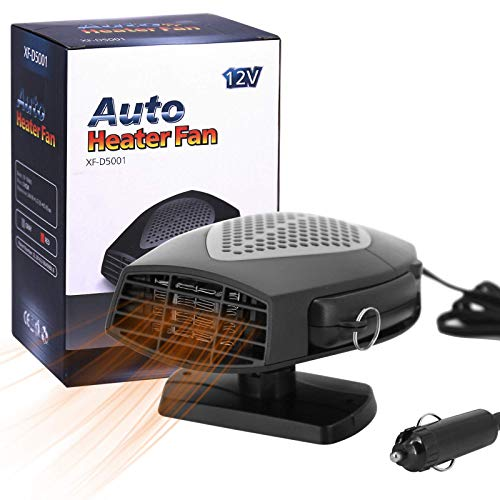 Portable Car Heater, 12V 150W 2 in 1 Fast Heating Car Fan Defroster Demister Car Amplifier Cooling Fans Automotive Replacement Heater for Car SUV Truck Rv Trailer (Black)