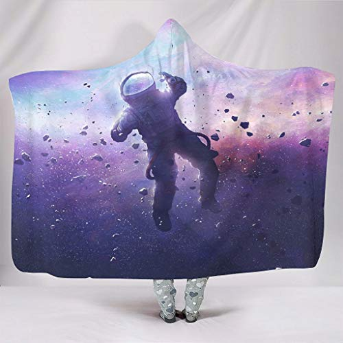 Astronaut Lost in Mind Fantasy Colorful Spaceman Galaxy Nebula Universe Print Hooded Blankets Funny Soft Warm Winter Fleece Hooded Blankets for Adults Kids Snuggling Chair Bedding White 60x80 inch