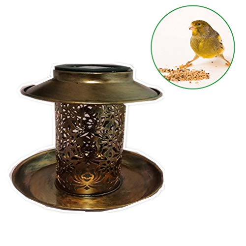 Vogelvoerstation Solar Led tuinverlichting verlichting Voedingdispenser voor vogels Mijzenknodelhouder om op te hangen voor wilde vogels 18 * 18 * 20 cm