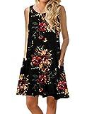 CHERFLY Vestido Casual de Verano Corto para Mujer Vestido sin Mangas con Bolsillos (Negro- Flor roja,S)