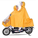 GaoFan Electric Bicycle Double Raincoat Mother and Child Fun Poncho Increased Thickening Waterproof Adult Battery Motorcycle Riding sub-Mirror Cover,Yellow,XXXXL
