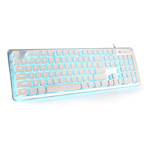 LED Computer Keyboard, LANGTU USB Wired Keyboard for Gaming and Office, All-Metal Panel 104 Keys Quiet Membrane Keyboard with Blue Backlit - L2 White/Silver