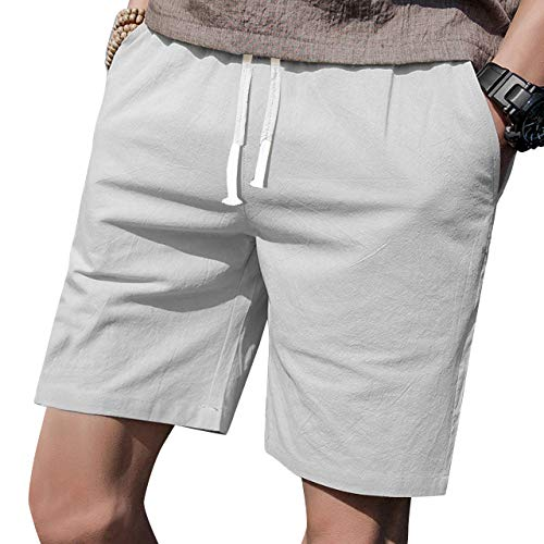 "LTIFONE Mens Casual Shorts Elastic Waist 7"" Inseam with Drawstring Slim Fit Summer Pants with Pockets(Light Grey,L)"