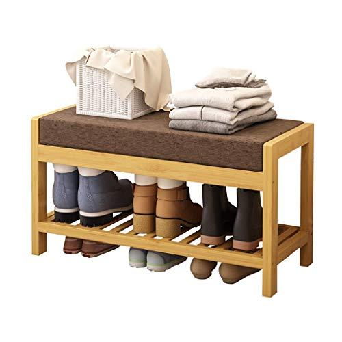 JPL Taburete para el hogar, banco de zapatos de una sola capa con cojín de asiento, zapatero de bambú, 80 x 33 x 40 cm