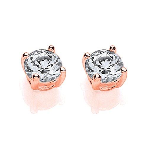 Jewelco Europa Pendientes de botón con solitario de circonita de cristal blanco redondo brillante chapado en oro rosa para mujer