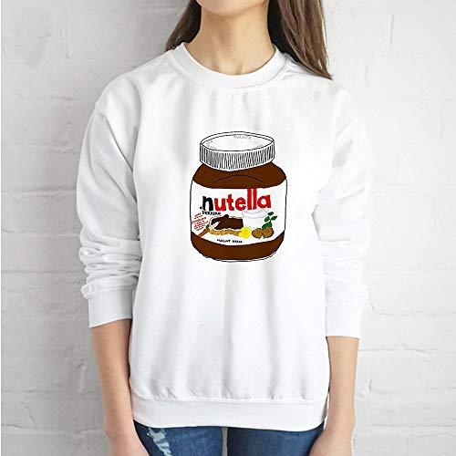 LIUYUNN Frauen Weihnachten Stilvolle Pullover Langarm Cartoon Nutella Druck Plus Size X-Mas Geschenk Pullover Tops Frauen, Weiß, XL