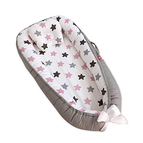 SONARIN Nido para Bebe Recién Nacido,Reductor de Cuna Nidos,Doble cara,Transpirable,100% Algodón hipoalergénico,con Almohada,Portátil(Estrella Rosa)