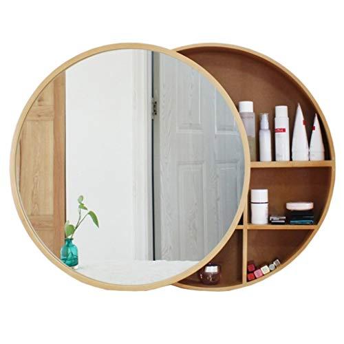 Xing Hua home Badspiegel Wandspiegel Badezimmerspiegel Schrank Wandbehang Kosmetikspiegel Badezimmerspiegel Mit Shelf Runden Spiegel Wandspiegel (Color : Wood Color, Size : 50cm)