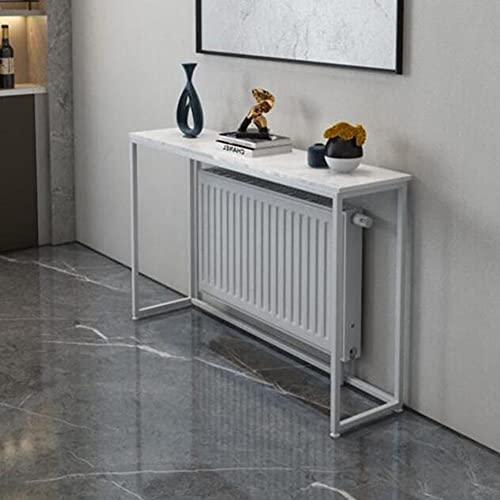 XIAOLIN Mesa De Centro Estrecha con Marco De Metal, Sala De Estar Sofá Rack De Almacenamiento Mármol Slim Console Table Hallway Entrada, Blanco(Color:02)