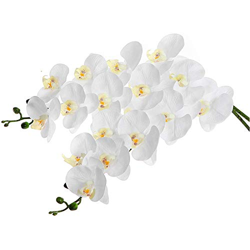 Baalaa 2 orquídeas artificiales de contacto real de 96,5 cm, 9 cabezas de látex Phalaenopsis tallos para centros de mesa de boda, cocina