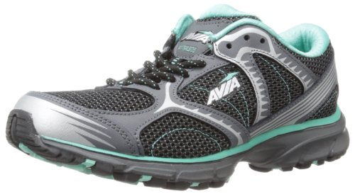 AVIA Women's Avi Trailside Running Shoe,Iron Grey/Black/Vivid Aqua/Chrome Silver,10.5 M US