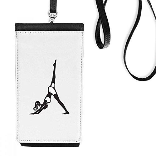 DIYthinker Leg Motion Yoga Meisje Houd Gezonde Sport Silhouette Faux Leer Smartphone Hangende Handtas Zwart Telefoon Portemonnee Gift