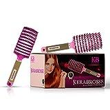 KERABROSSE.2 brosses cheveux 100% naturel,brosse cheveux demelante,meilleure pour démêlage de cheveux épais,,brosse a poil de sanglier anti noeud, brosse magique rose violet