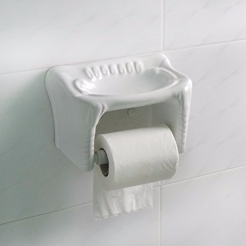 SDKKY Keramik WC-Papier Box, Papier Handtuchhalter, Toilettenpapierhalter, roll Papierfach, Bad-WC-Papier-Tablett