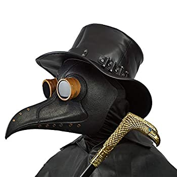 Creepy Party Black Plague Doctor Mask Deluxe Novelty Plague Doctor Mask for Kids and Adults