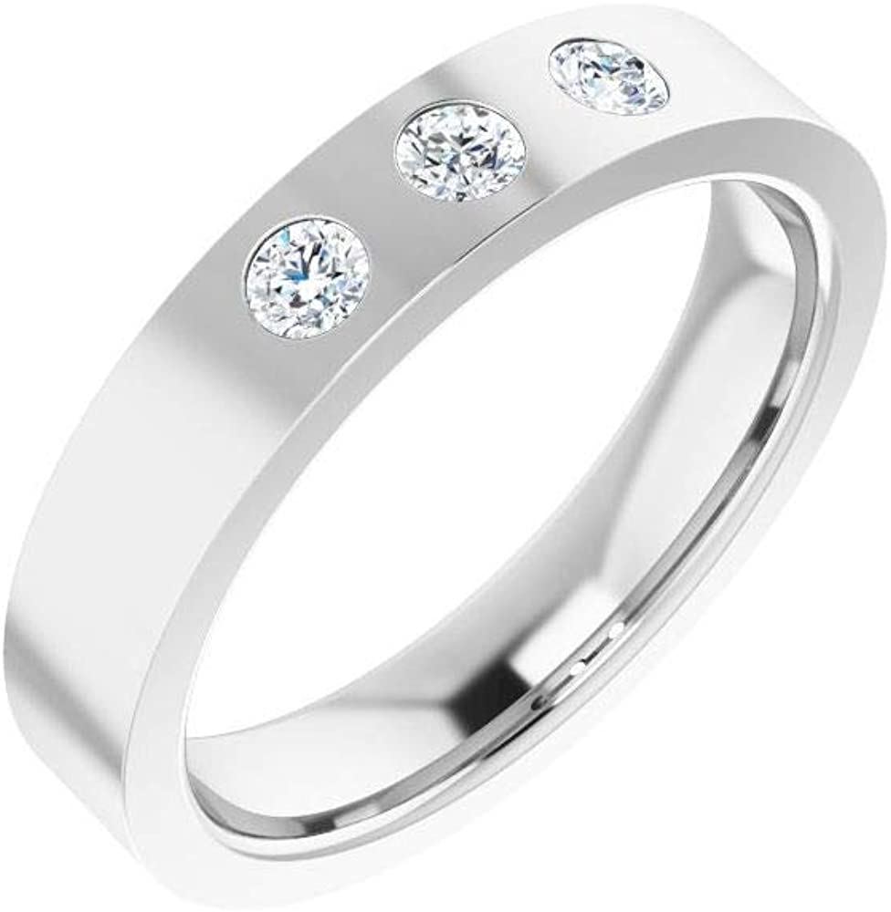 Solid 10k White Gold 1 5 Cttw Diamond Wedding OFFer Stone 3 Ranking TOP19 Flat Three