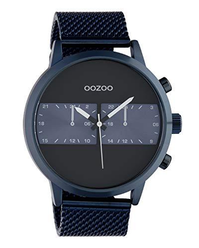 Oozoo C10511 - Orologio da uomo con cinturino in maglia milanese, 50 mm, colore: Blu/Nero