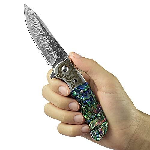 AUBEY Damast Taschenmesser Abalone Klappmesser Outdoor,Eindhandmesser aus Japanischem Damaststahl Messer, Geschenk