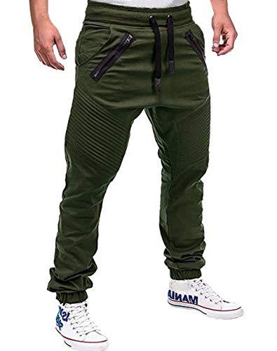 ASKSA Jogginghose Herren Jogginganzug Jogger Männer Sporthose Fitness Hose Slim Fit Freizeithose Streetwear Hosen Einfarbig (Grün, M)