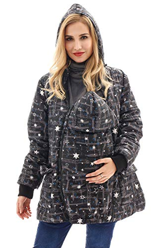 Bearsland Maternity Babywearing Pregnancy Jacket Coat Mother's Down Duffle Coat with Windproof Waterproof,graystar,XL