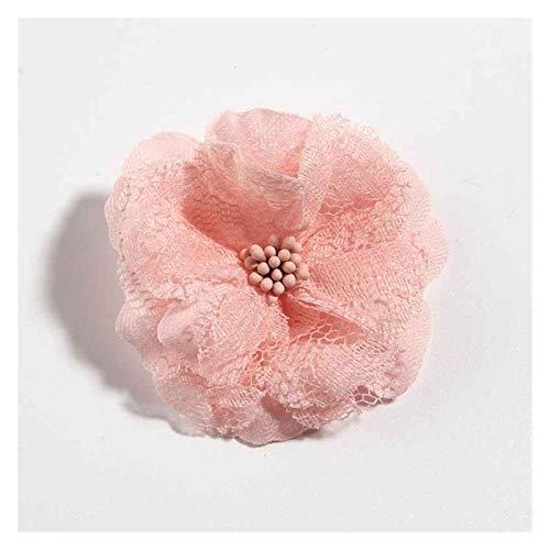 XIAOZSM Trockenblumen 10 stücke 5,5 cm 2.1'Neuer Stoff künstliche Spitze Blume für Haare zubehör Künstliche Blumen (Color : Peach)