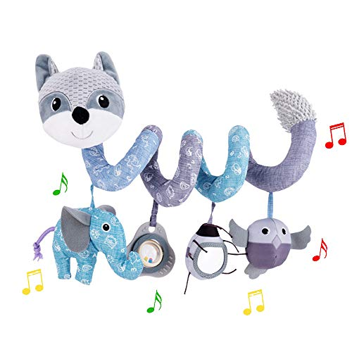 ORZIZRO Car Seat Toys, Baby Plush Spiral Hanging Toys for Stroller Crib Bar Bassinet Car Seat Mobile with Musical Owl BB Squeaker Elephant- Gray Fox