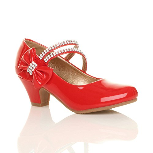 Muchachas nia tacn bajo Fiesta Boda Disfraz Dama de Honor Princesa Zapatos Merceditas nmero 11