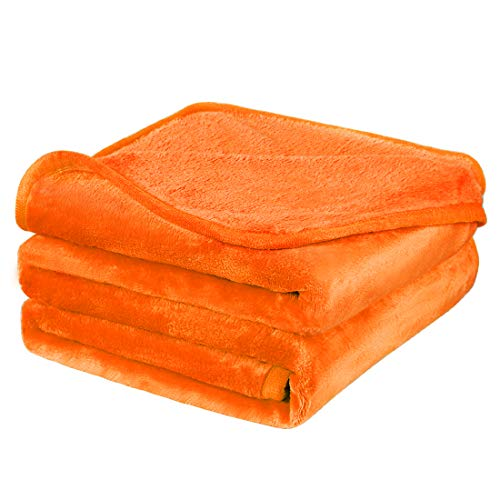 PiccoCasa Fleece Bed Blanket Twin XL Size Orange 330GSM Soft Lightweight Microfiber Plush Flannel Blanket Thick All Season Throw Blankets for Couch Sofa Bed Traveling, 65 x 90 inches