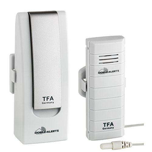 TFA Dostmann Weatherhub Starter-Set, mit Temperatursender, mit wasserfestem Kabelfühler, SmartHome, Abruf über Smartphone, ideals für Kühlgeräte/Teich/Pool