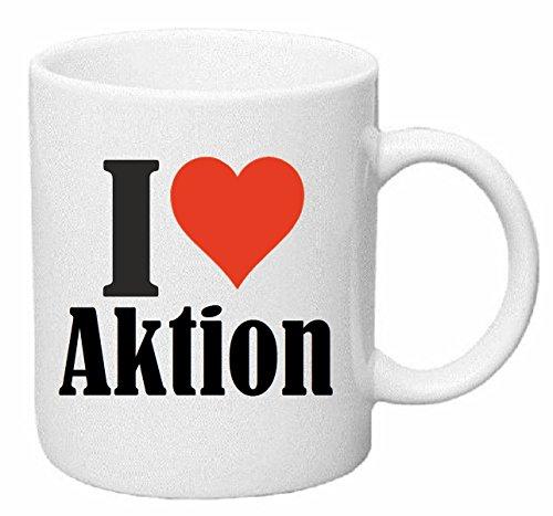 Koffie MokIk hou van AKTIE Thee. Keramisch - Hoogte: 9 cm - Diameter: 8 cm - Inhoud: 330ml het ideale geschenk voor werkgroepen, partner of zelfs uzelf