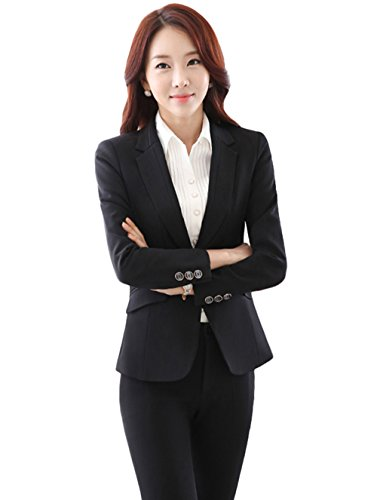 URUOI Women's Korean Style Soft and Wearable Professional Suit BlackL