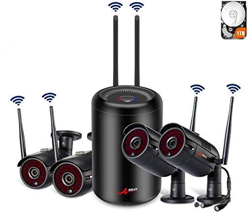 SWINWAY 1080P CCTV Kit Cámaras de Vigilancia WiFi NVR 4CH Sistema Videovigilancia WiFi 2MP Sistema CCTV 4 Cámaras de Seguridad WiFi Exterior Visión Nocturna Detección de Movimiento