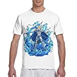 Camiseta Manga Corta Larga para Hombre Eugeo-Sword Art Online Anime-Sao Camiseta Casual de Manga Corta con Cuello Redondo 3D