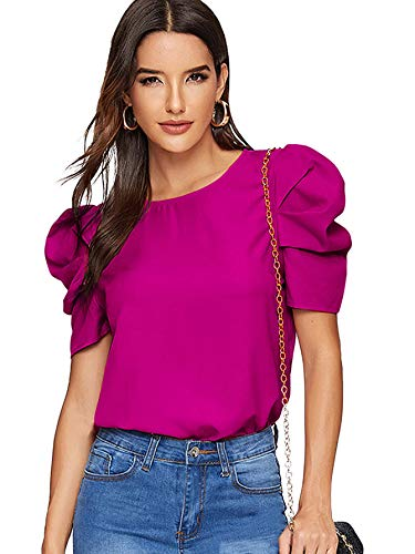 Floerns Women's Round Neck Short Puff Sleeve Keyhole Back Blouse Tops Red Violet L