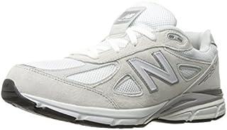 New Balance Boys' 990v4 Running Shoe White/Silver 3.5 M US Big Kid [並行輸入品]
