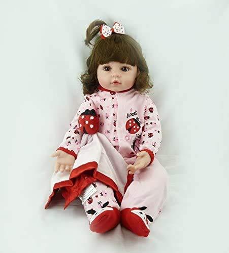 ZXYMUU Handgemachte weiches Silikon-18-Zoll-Reborn Baby Doll Mädchen Naturgetreue Blaue Augen Neugeborenes Mädchen-Spielzeug-Puppe Dieses Blick Echtkinder Vinyl Geburtstags-Geschenk