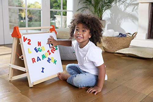 Edushape Kids Easel - 4 in 1 Desktop Art Station - White Board, Chalk Board, Drawing/Painting Pad and Magnets (17'' X 20'')