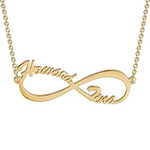 Soufeel Namenskette Unendlichkeits Personalisierte Namenshalskette 925 Sterlingsilber 14K Gold Vergoldet (Keine Interpunktion und Symbole)
