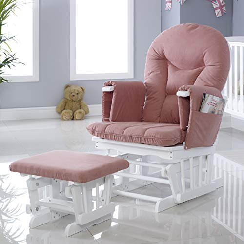 Ickle Bubba Alford Nursing Maternity Glider Chair With 7 Recline Positions And Stool, Blush Pink