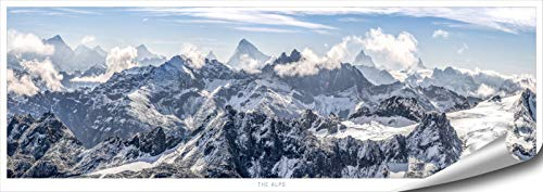 ARTBAY Berge Poster HD XXL - The Alps - Panorama Kunstdruck - 118,8 x 42 cm | Die Alpen, Schweiz |Natur Poster |Premium Qualität